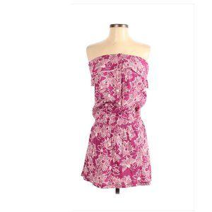 Aerie AE Strapless Ruffle Neckline Floral Dress sm